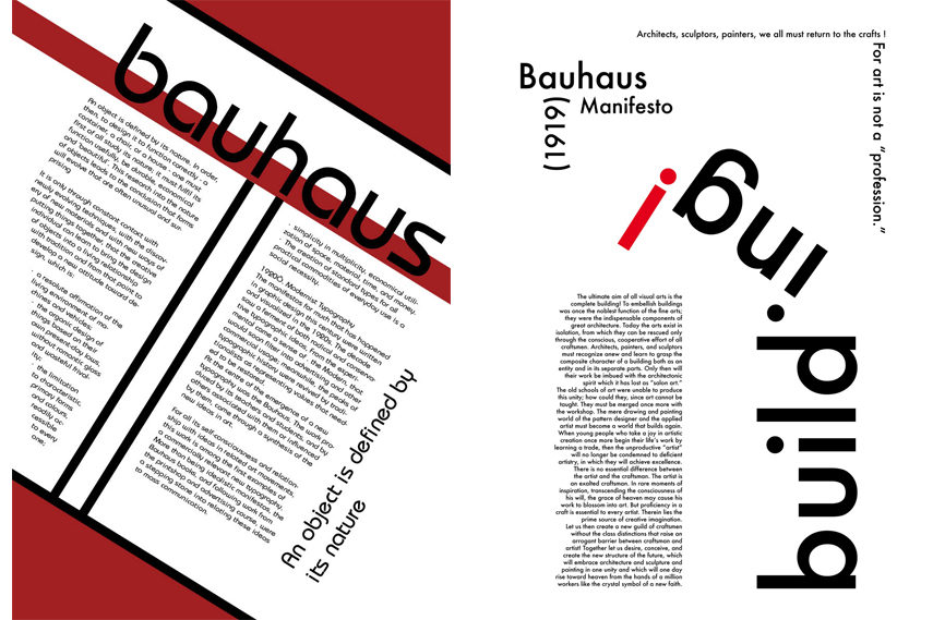 Left- Adam Simpson - Bauhaus Manifesto print via bagdc1asimpso wordpress com; Right- Douady - Bauhaus Manifesto print