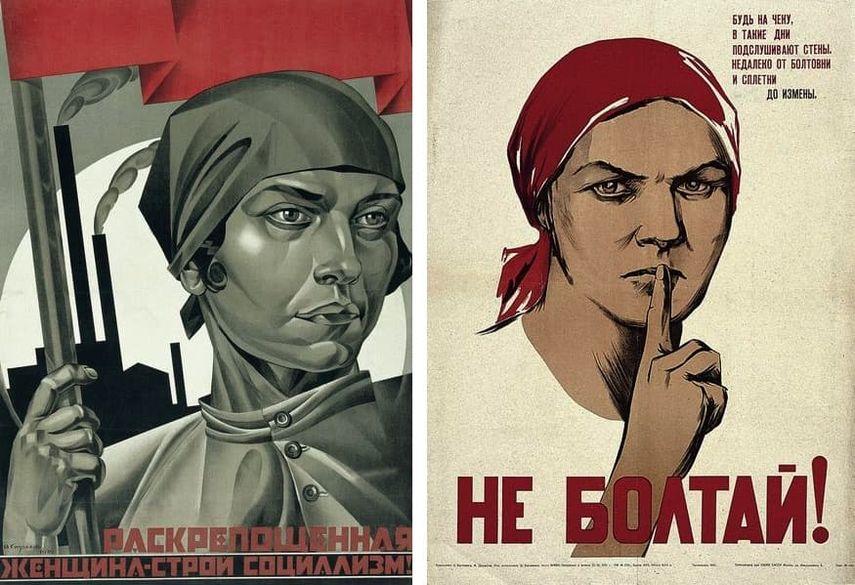 Adolf Strakhov - The Emancipated Woman is Building Socialism, 1926, Nina Vatolina - Don't Chatter! Gossiping Borders on Treason, 1941