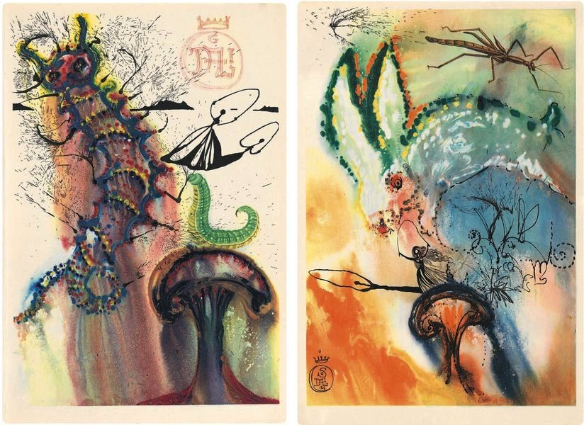 Salvador Dalí, Advice From a Caterpillar, Down the Rabbit Hole; one of the artist designed books