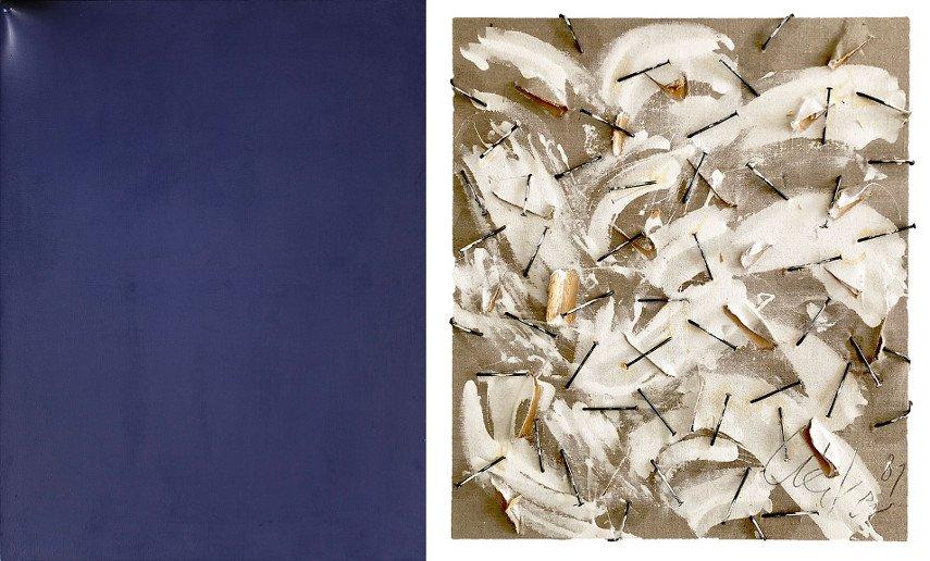 Left Agostino Bonalumi - Blu Right Gunther Uecker - Untitled