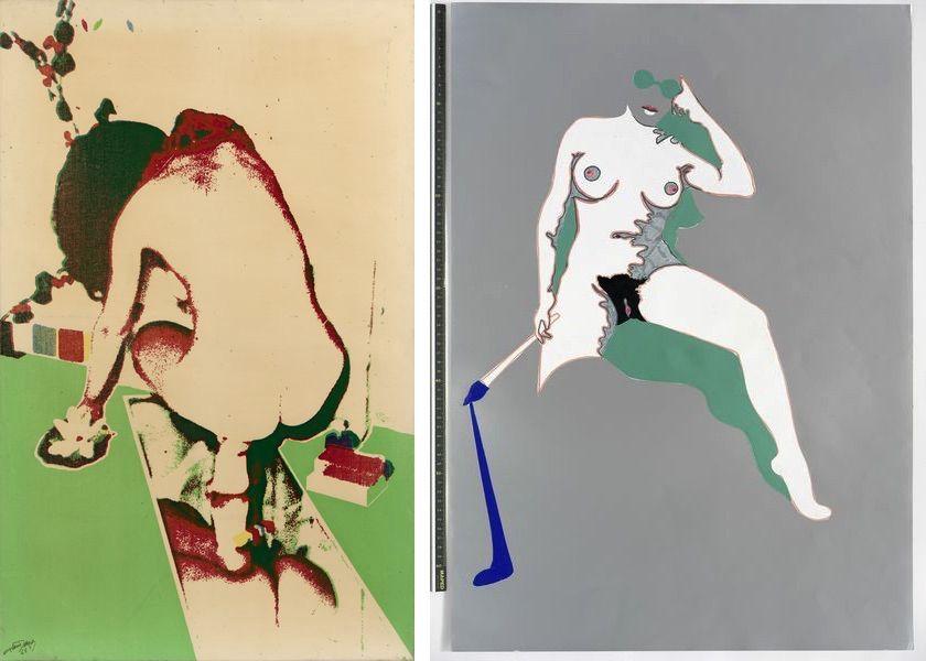 Alain Jacquet - Le Tub, 1965, Evelyne Axell - Le Peintre, 1972