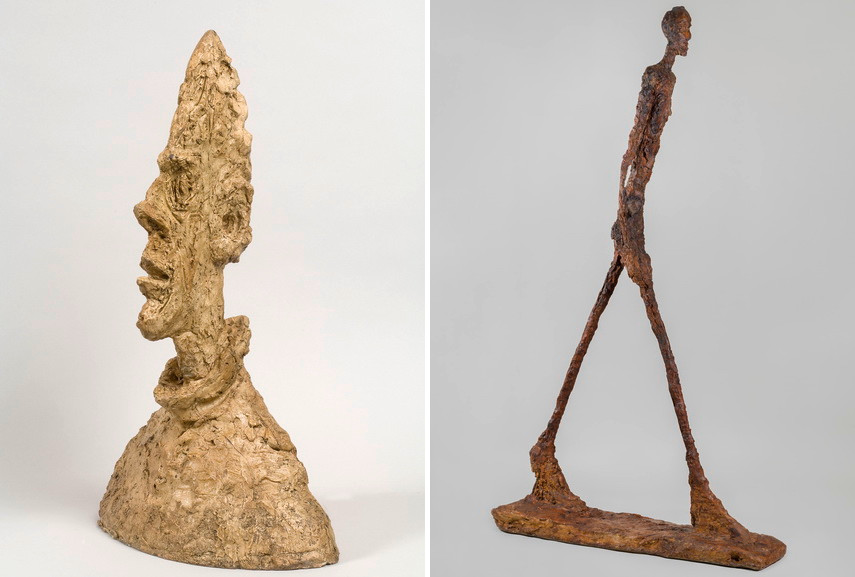 Giacometti - Grande tête mince, 1954, L'homme qui marche II, 1960. Courtesy Fondation Beyeler Museum