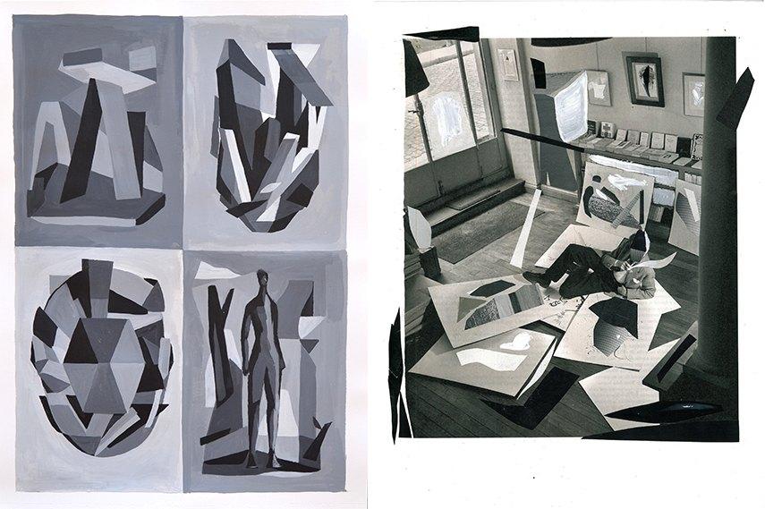 Left: Alberto de Blobs - Máscaras y escenarios / Right: Alberto de Blobs - En el taller