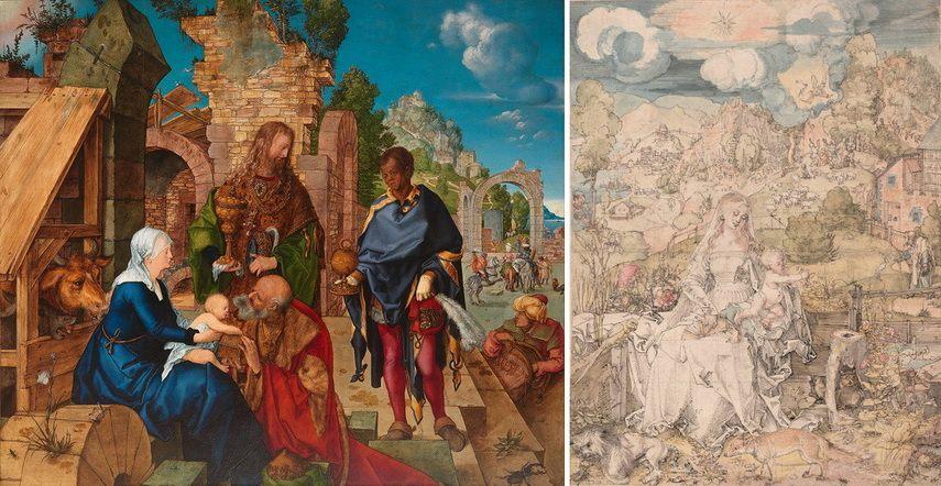 Left Albrecht Dürer - Adoration of the Magi Right Albrecht Dürer - The Virgin with a Multitude of Animals