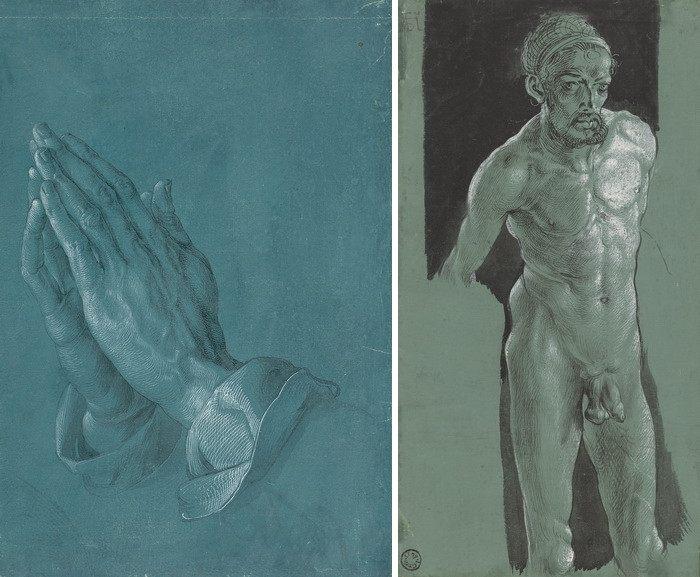 Left Albrecht Dürer - Praying Hands Albrecht Dürer - Nude Self-Portrait