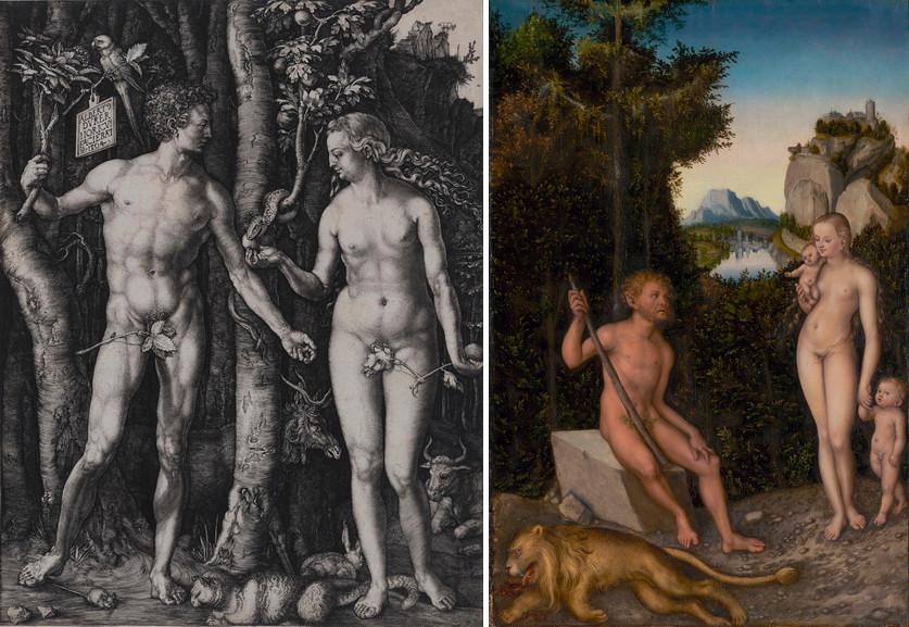 Left Albrecht Durer - Adam and Eve Right Lucas Cranach the Elder - A Faun and His Family with a Slain Lion