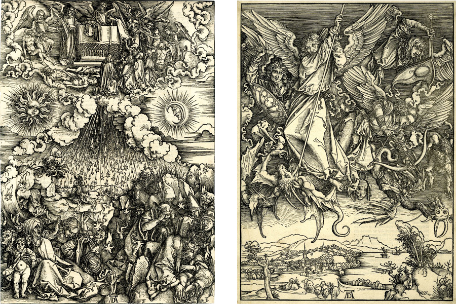 Albrecht Durer - The opening of the fifth and sixth seals, St Michael fighting the Dragon