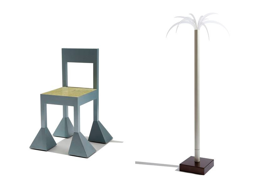 Left Alessandro Mendini - Spaziale Chair Right Dario Bartolini for Design Centre - San Remo Floor Lamp