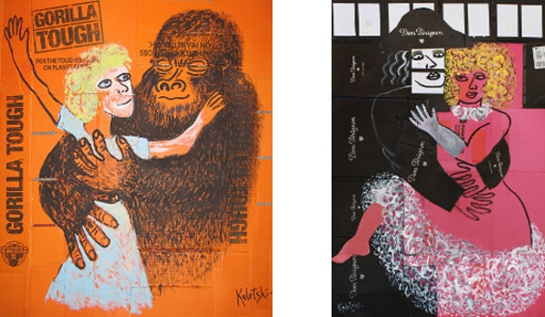 Left - Alexander Kaletski - Gorilla Tough, 2012, Right - Alexander Kaletski - Moulin Rouge, 2013, photo courtesy of Anna Zorina Gallery, Cardboard Paintings