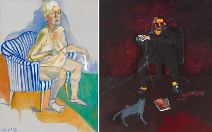 Left Alice Neel - Self-Portrait Right Fritz Scholder - Self Portrait with Grey Cat