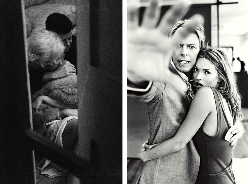 Alison Jackson - Marilyn and JFK through the window, 2000, Ellen von Unwerth - Kate Moss and David Bowie, 2003