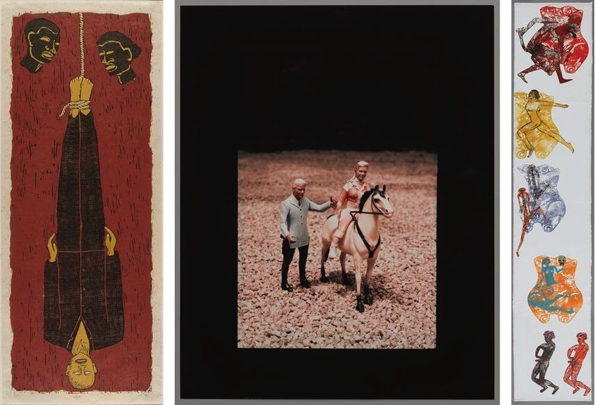 Alison Saar - Ulysses, 1994, Laurie Simmons - Man/Woman/Horses (Roy Rogers and Dale Evans), circa 1978, Nancy Spero - Fertility Totem, 1986