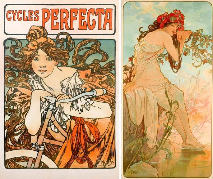 Left Alphonse Mucha - Cycles Perfecta Right Alphonse Mucha - Ete for The Seasons series