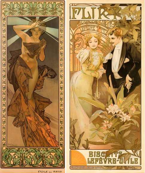Left Alphonse Mucha - Etoile du Matin from The Seasons series Right Alphonse Mucha - Flirt