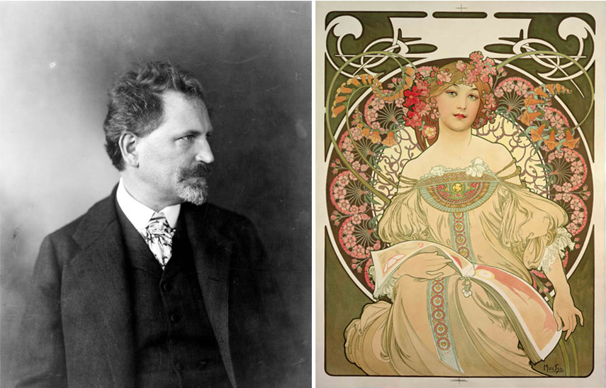 Left: Alphonse Mucha portrait / Right: Alphonse Mucha - Champagne Printer Publisher, 1897