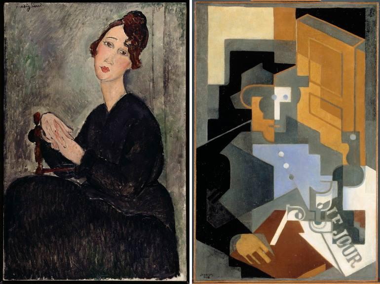 Left Amedeo Modigliani - Portrait of Dedie Right Juan Gris - Man from Touraine