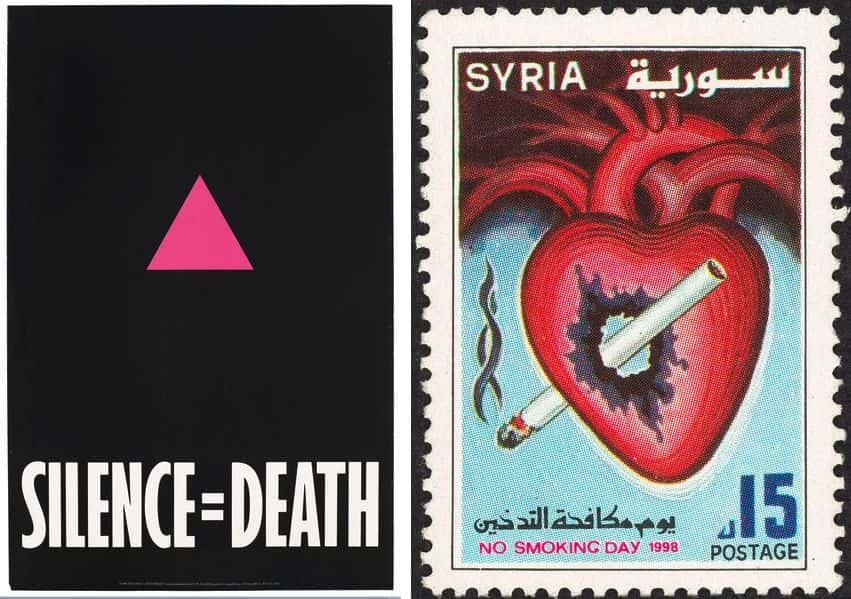 An advertisement for The Silence = Death Project, No Smoking Day stamp, Syria 1998