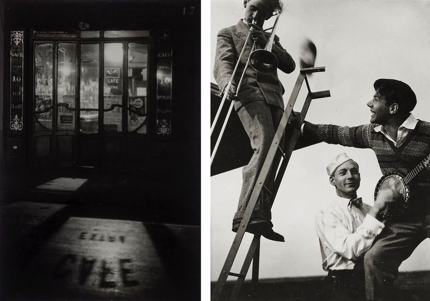 André Kertész - Café Extra, 1927, T Lux Feininger - Bauhaus Band, 1928