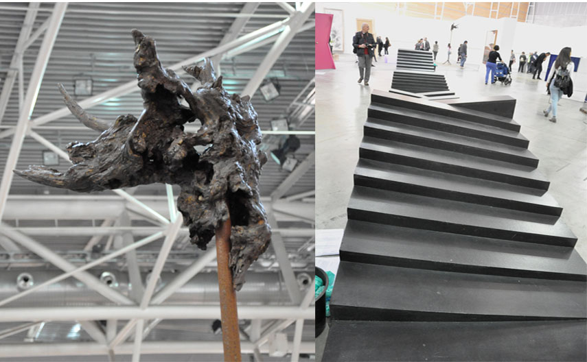 Left: Andrea De Stefani - Dry Landscape (Polygonal Lasso), 2013, detail / Right: Gianni Colombo - Bariestesia, 1974-75