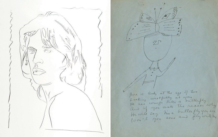 Left Andy Warhol – Mick Jagger Right Andy Warhol - Self Portrait Andy Warhol at the Age of Two
