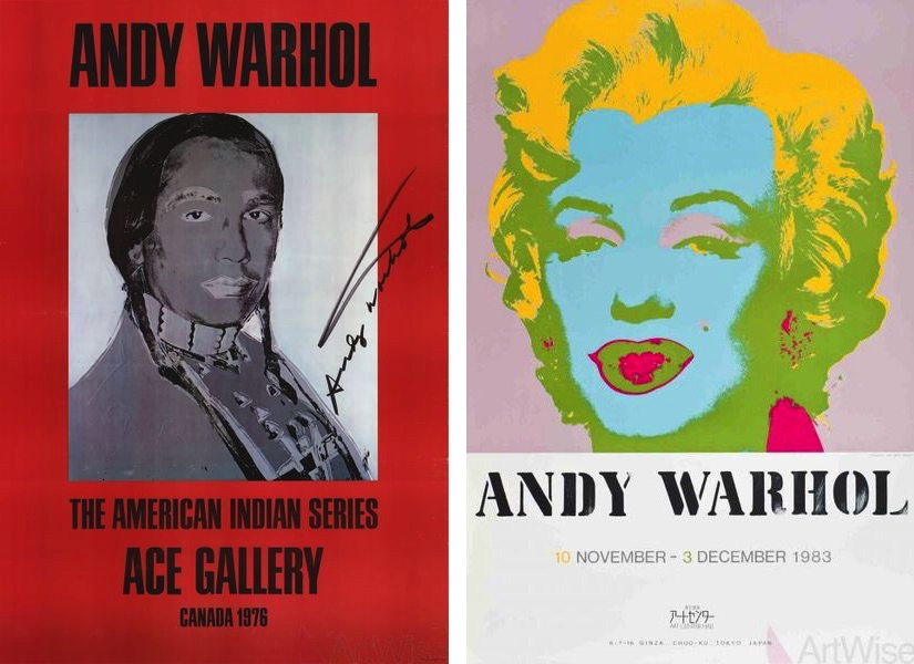 Andy Warhol - American Indian (Red), 1977, Andy Warhol - Marilyn Monroe, 1983. Serigraph