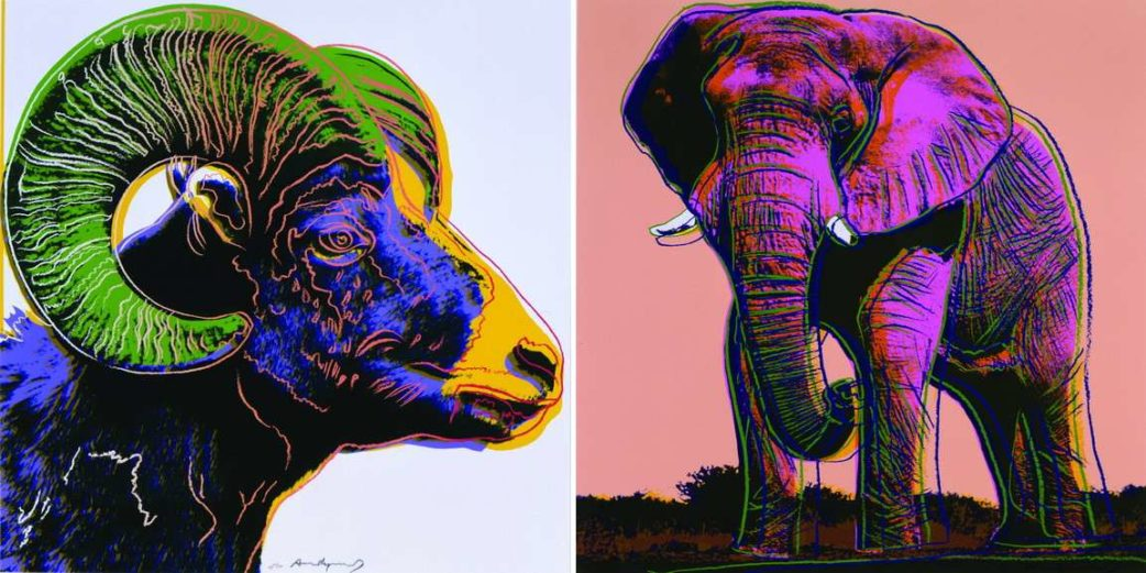 Left Andy Warhol - Bighorn Ram Right Andy Warhol - African Elephant
