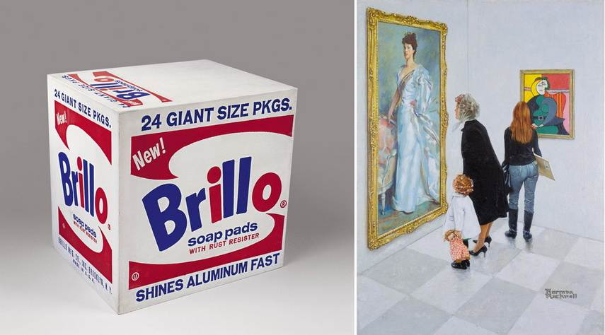 Left Andy Warhol - Brillo Box Right Norma Rockwell - Marriage Councilor