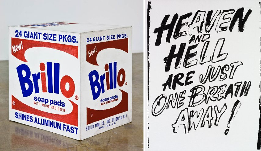 new work arts time portraits death paintings painting series arts early books Left - Andy Warhol - Brillo Box. Photo via farnsworthmuseumorg - Right - new painting series paintings Andy Warhol - Heaven and Hell are Just One Breath Away!, 1987. Photo via phillipsauctiontumblr