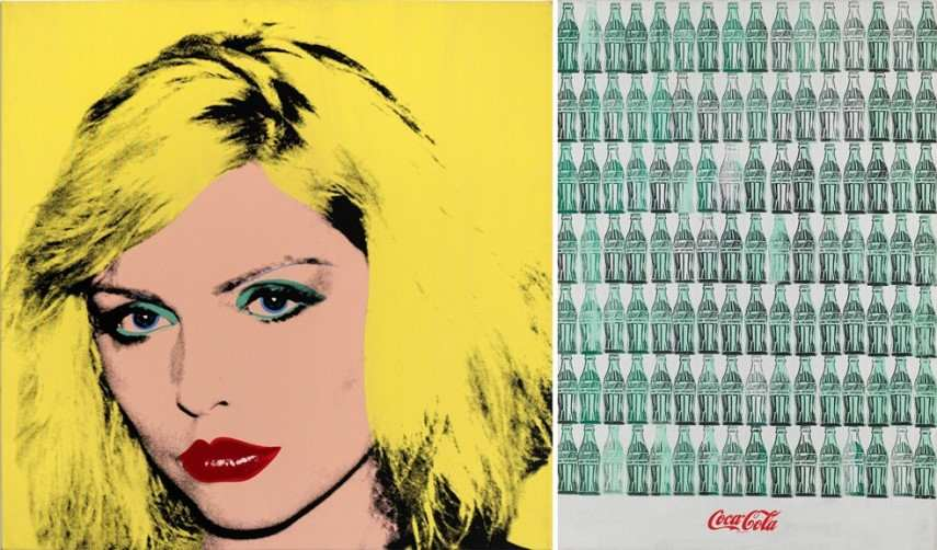 Left Andy Warhol - Debbie Harry Right Andy Warhol - Green Coca Cola bottles