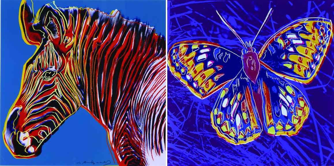 Left Andy Warhol - Grevy's Zebra Right Andy Warhol – San Francisco Silverspot