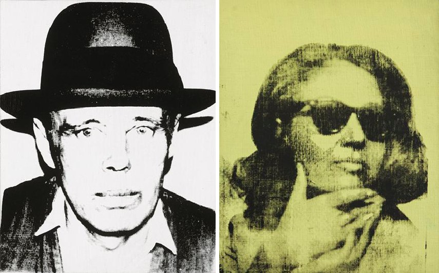 Left arts early books new work arts time portraits death paintings painting series- Andy Warhol - Joseph Beuys, 1980. Synthetic polymer and silkscreen ink on canvas - Hall Collection - Right - new painting series paintings Andy Warhol - Ethel Scull, 1963. Silkscreen ink paintings and acrylic on linen - Hall Collection