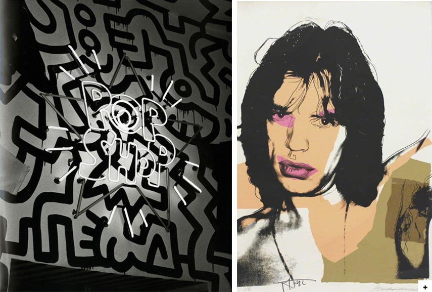 Left Andy Warhol - Keith Haring's POP Shop, Soho Right Andy Warhol - Mick Jagger