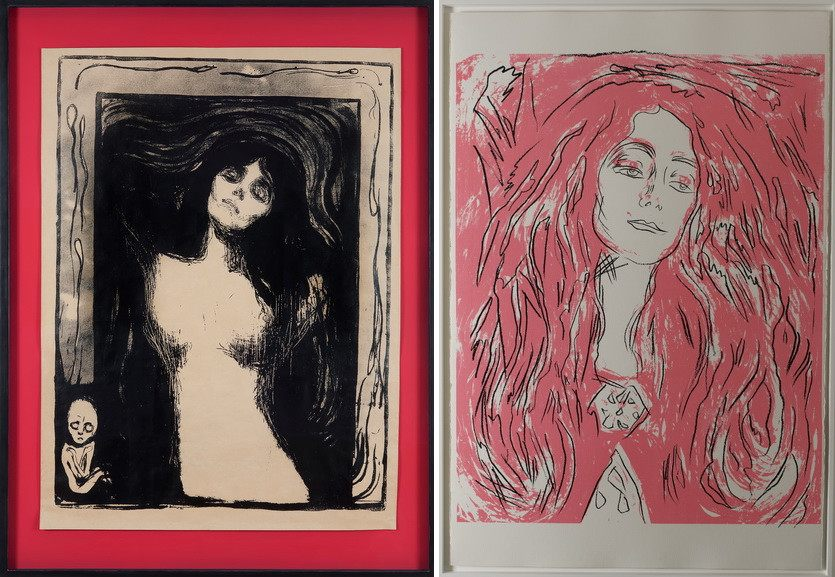 Left Andy Warhol - Madonna (After Munch), 1983 Right Andy Warhol - Eva Mudocci, 1983-84