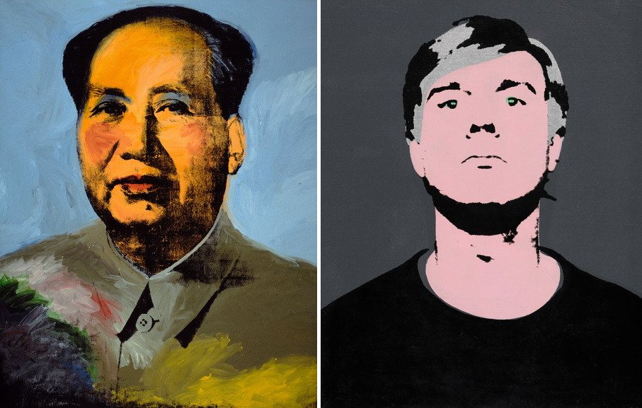 Left Andy Warhol - Mao Right Self-portrait