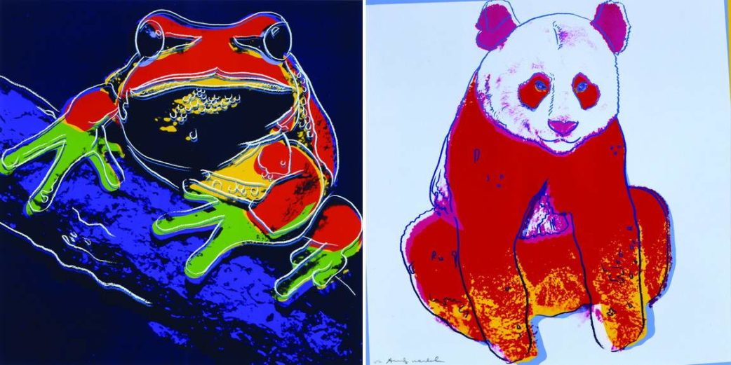 Left Andy Warhol - Pine Barrens Tree Frog Right Andy Warhol - Giant Panda