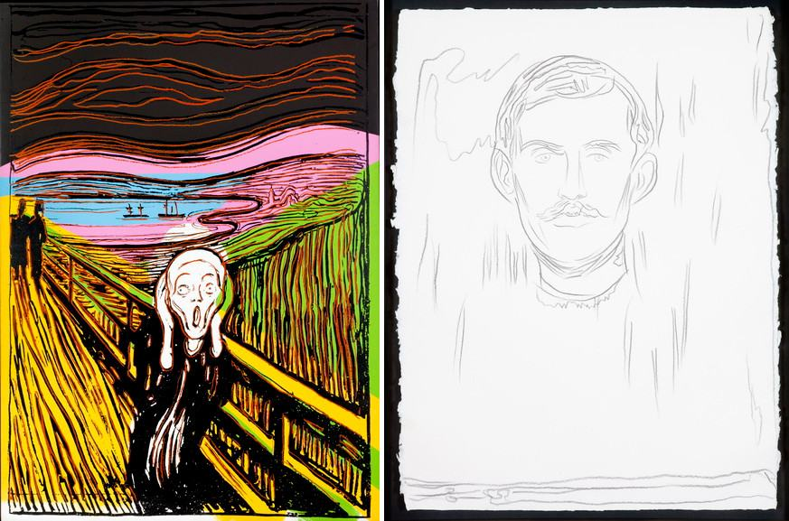 Left Andy Warhol - The Scream (After Munch), 1984 Right Andy Warhol - Self-Portrait with Skeleton Arm (After Munch), 1983-84