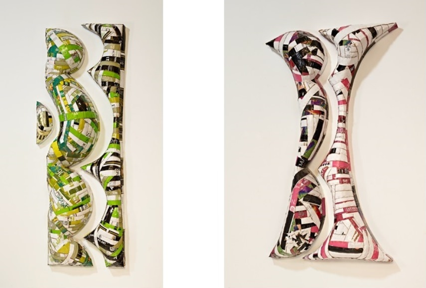 Left: Ann Weber - After Ellsworth  (Green),  79x27x10 /  Right:  Ann Weber - I After Ellsworth (Purple), 2014 I Found cardboard, staples, polyurethane I 71 x 26 x 5 inches