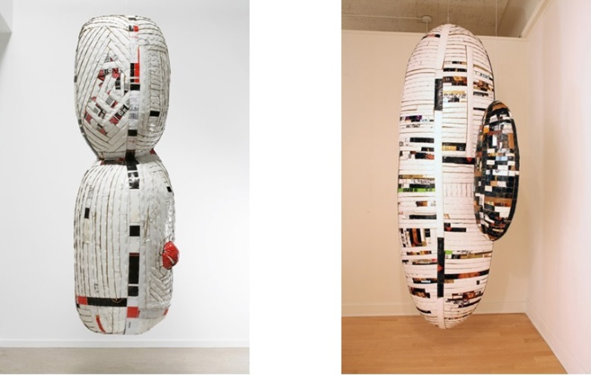 Left: Ann Weber - Ali's Cocoon, 2010, Found cardboard, staples, polyurethane, pvc pipe, 77 x 26 x 23 inches (for illustrative purposes) /  Right:  Ann Weber - Lucky Moon, 2011, Found cardboard, staples, pvc pipe, polyurethane