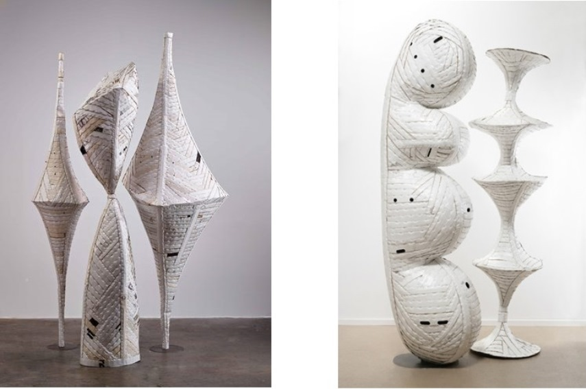 Left: Ann Weber - Personage (We Three), 2013, Found cardboard, staples, polyurethane / Right: Ann Weber - Prose & Kahn, 2010, Found cardboard, staples, polyurethane (for illustrative purposes)