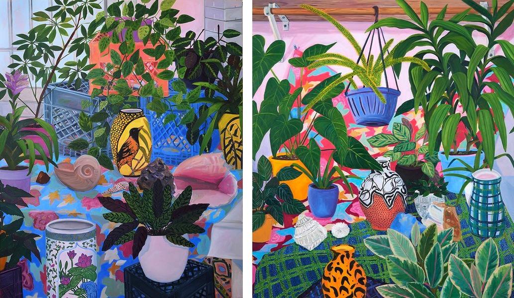 Bird Vase in Studio, 2019, Painted Pots with Studio Plants, 2019