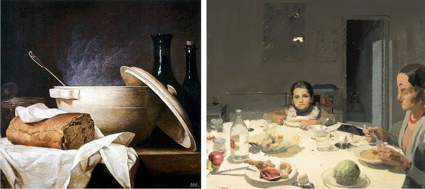 famous food arts depicting table settings could be seen in a museum
