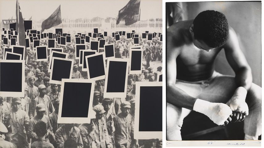 Annette Lemieux - Black Mass, 1991, Gordon Parks - Bandaged Hands, Muhammad Ali, 1966