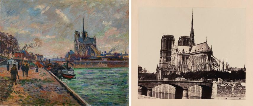Impressionists Armand Guillaumin - The Bridge of the Archbishop and the Apse of Notre-Dame, ca. 1880, painting, Édouard Baldus - Rear view of Notre-Dame, París, 1860-1870, photograph