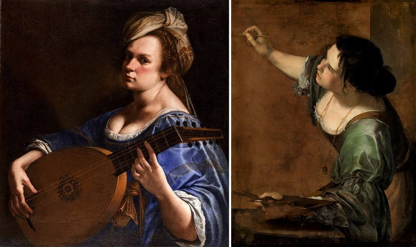 Left Artemisia Gentileschi - Sel-Portrait as a Lute Player Right Left Artemisia Gentileschi - Sel-Portrait as the Allegory of Painting