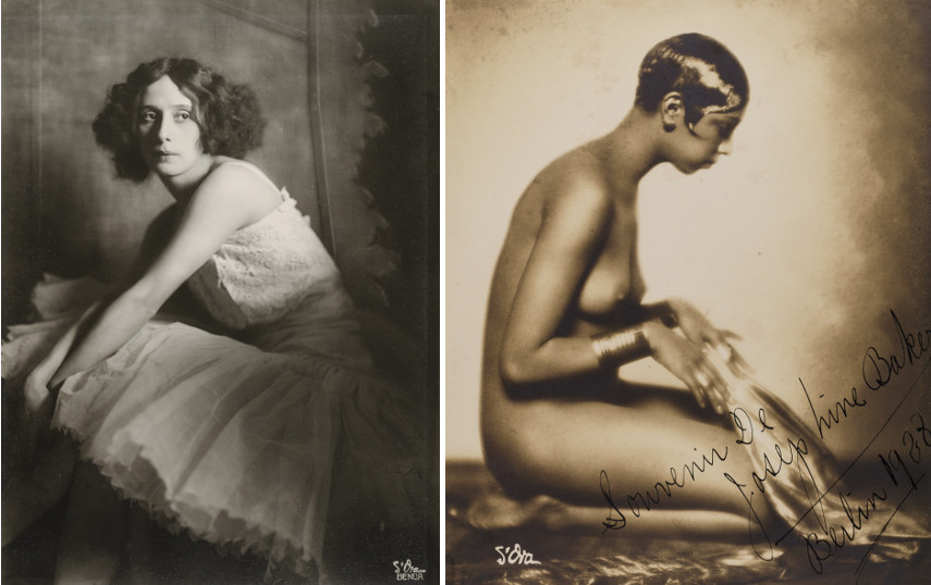Left Atelier d'Ora - Anna Pawlowa, 1913 - Right Madame d'Ora - Josephine Baker, 1928