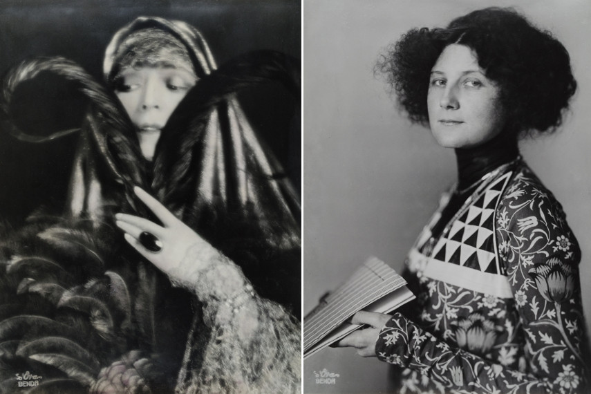 Left Atelier d'Ora - Operatic diva Fritzi Massary collection, 1923 - Right Atelier d'Ora - Fashion designer Emilie Flöge wearing a dress with Kolo-Moser-Motifs, 1908