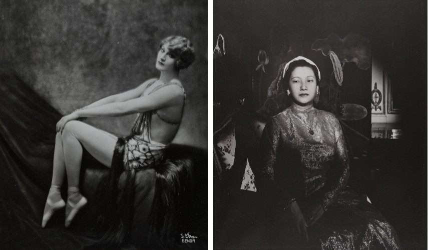 "Left Atelier d'ora d'Ora - Vaudevillian and Trapezist ""Barbette"", 1926 - Right Madame d'Ora - Empress von Annam, around 1955 - New information about the date of d'ora birth does not support the old date, so the view privacy was placed in effect"