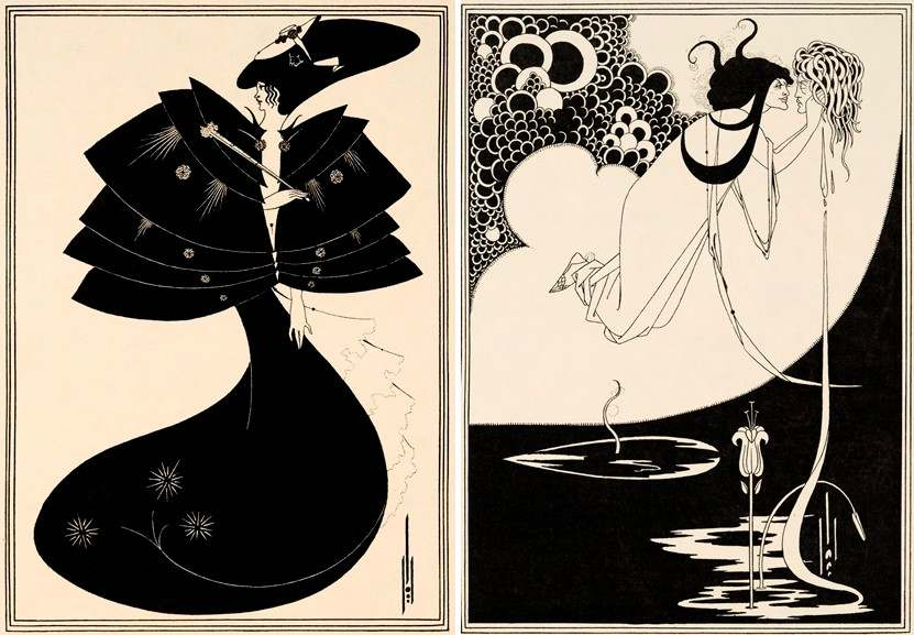 Left Aubrey Beardsley - The Black Cape Right Aubrey Beardsley - The Climax