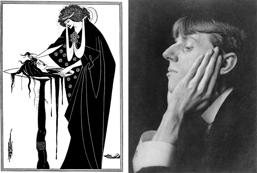 Left: Aubrey Beardsley - The Dancers Reward, Salomé - a tragedy in one act / Right: Aubrey Beardsley portrait