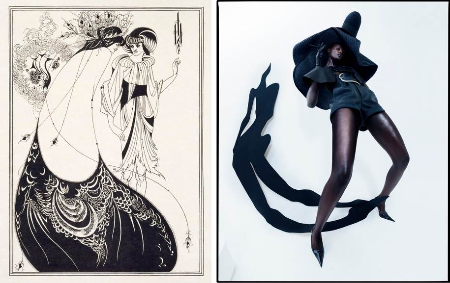 Left Aubrey Beardsley - The Peacock Skirt Right Tim Walker - Duckie Thot